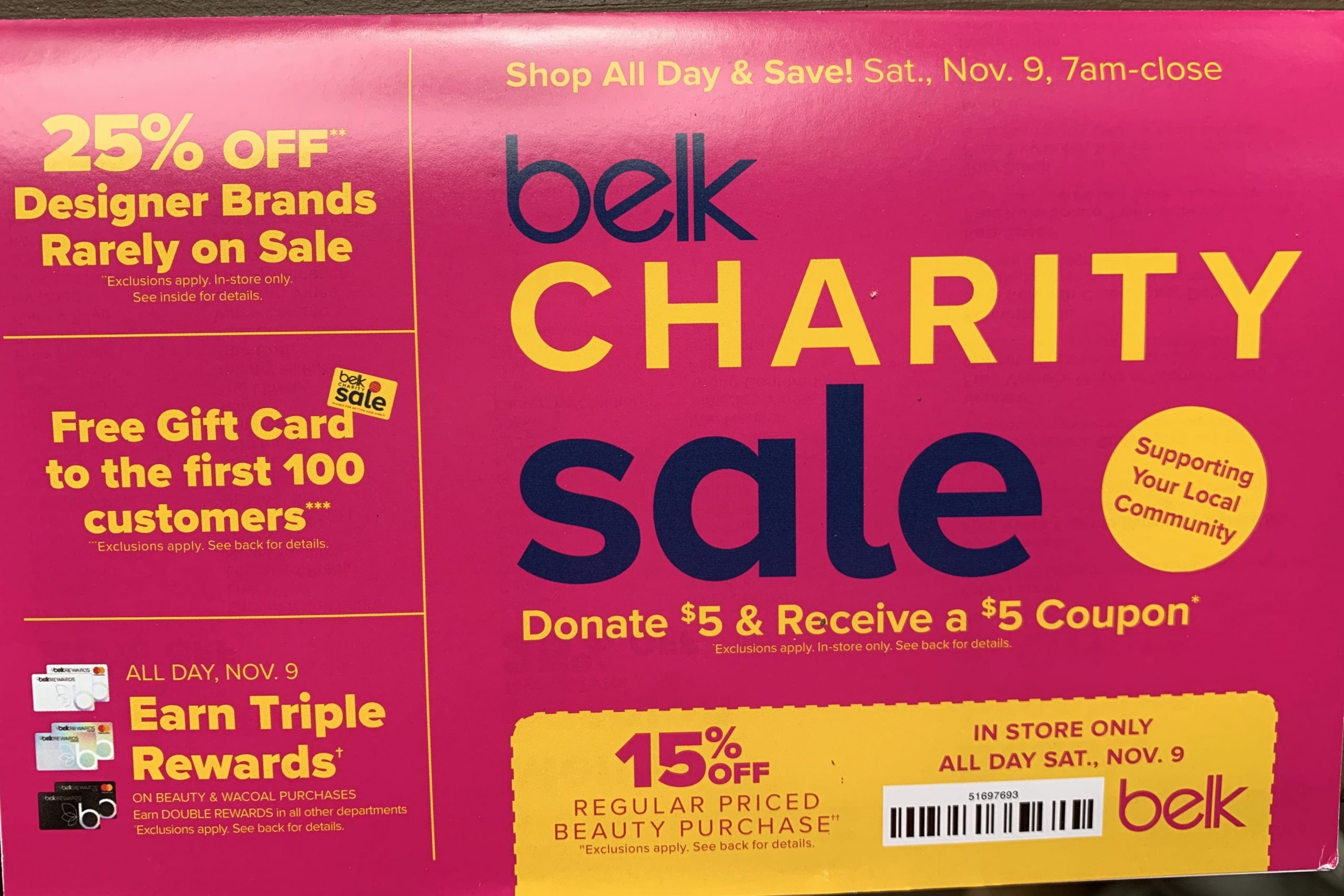 Belk Charity Sale – Donate $5.00 get a $5.00 Coupon