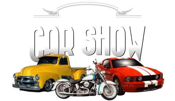 Car show with two classic vehicles depicted